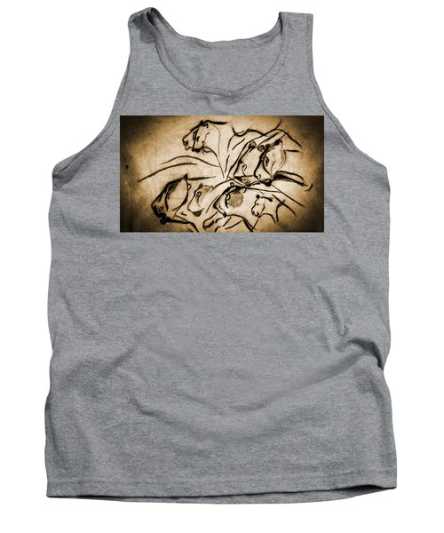 Chauvet Cave Lions Burned Leather Tank Top
