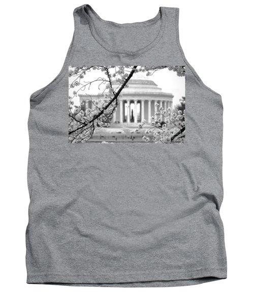 Cherry Tree And Jefferson Memorial Elegance  Tank Top