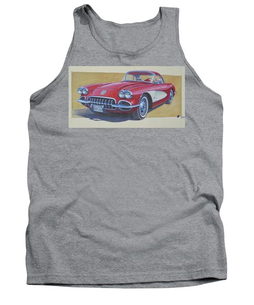Tank Top featuring the drawing Chevy by Mike Jeffries