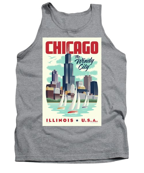 Chicago Retro Travel Poster Tank Top by Jim Zahniser