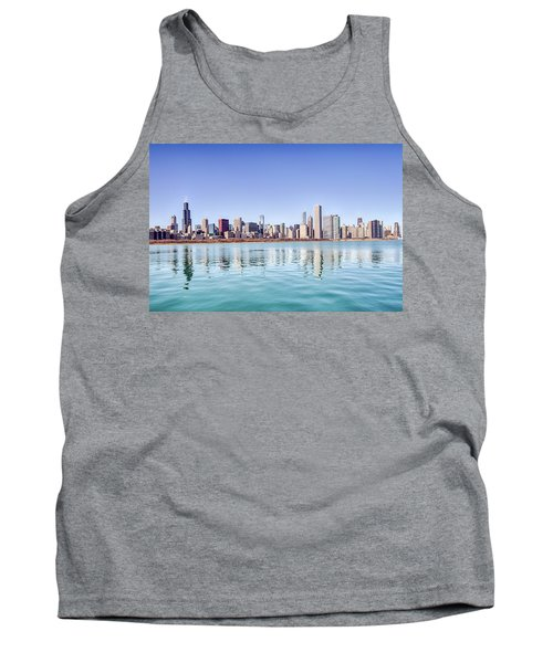 Tank Top featuring the photograph Chicago Skyline Reflecting In Lake Michigan by Peter Ciro