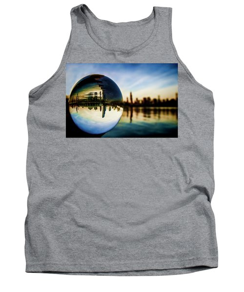 Chicago Skyline Though A Glass Ball Tank Top