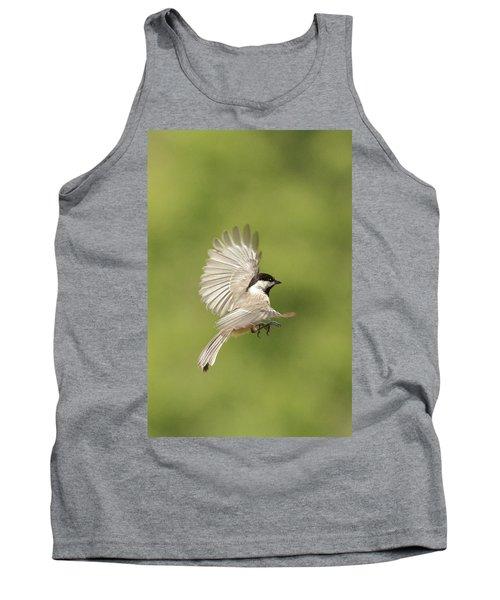 Chickadee In Flight Tank Top by Alan Lenk