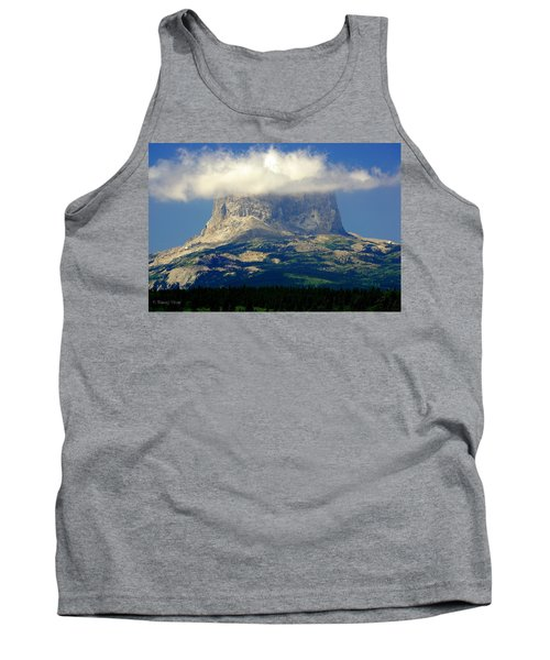 Chief Mountain, With Its Head In The Clouds Tank Top