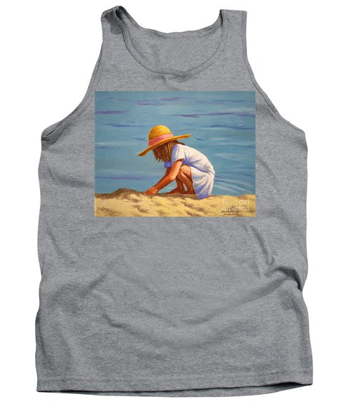 Tank Top featuring the painting Child Playing In The Sand by Christopher Shellhammer