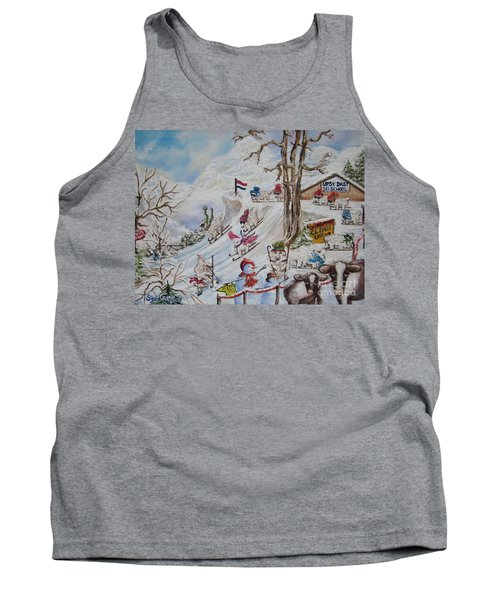 Tank Top featuring the painting Tutelage Trumped Tuition At Upsy Daisy Ski School.              Chloe The Flying Lamb Productions  by Sigrid Tune