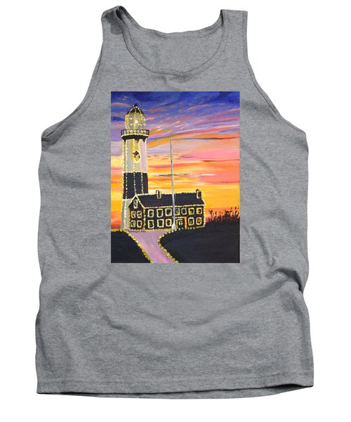 Christmas At The Lighthouse Tank Top by Donna Blossom