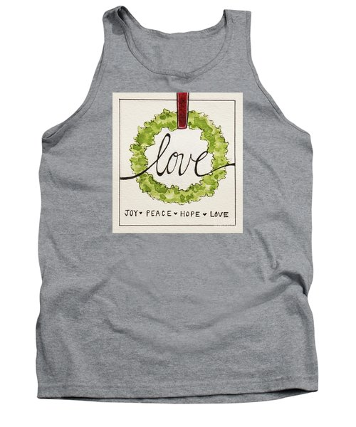 Tank Top featuring the painting Christmas Wreath by Elizabeth Robinette Tyndall