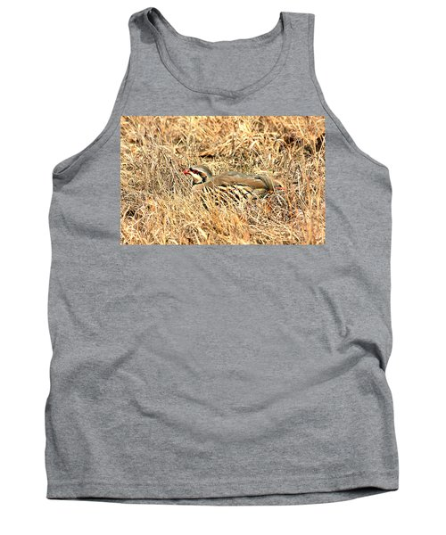 Tank Top featuring the photograph Chuckar Bird Hiding In Grass by Sheila Brown