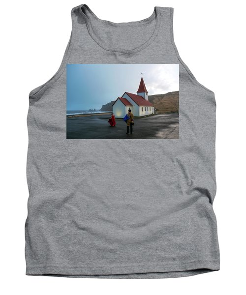 Tank Top featuring the photograph Church Above Reynisfjara Black Sand Beach, Iceland by Dubi Roman