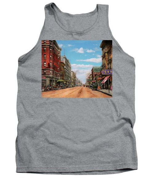 Tank Top featuring the photograph City - Memphis Tn - Main Street Mall 1909 by Mike Savad