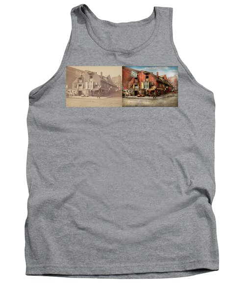 Tank Top featuring the photograph City - Pa - Fish And Provisions 1898 - Side By Side by Mike Savad