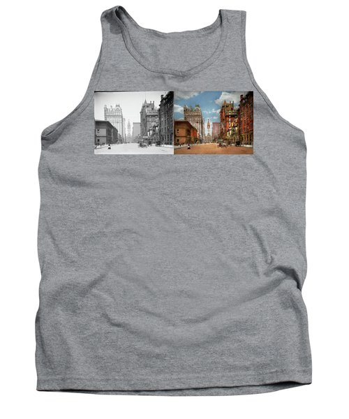 Tank Top featuring the photograph City - Pa Philadelphia - Broad Street 1905 - Side By Side by Mike Savad