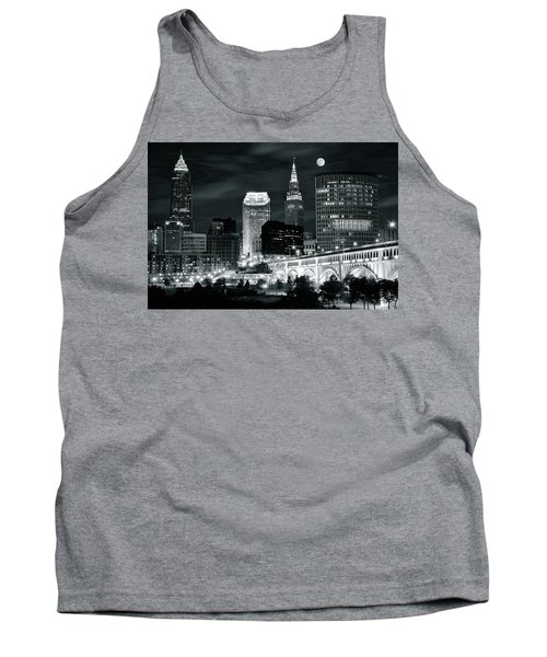 Cleveland Iconic Night Lights Tank Top by Frozen in Time Fine Art Photography