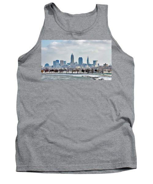 Cleveland Skyline In Winter Tank Top by Bruce Patrick Smith