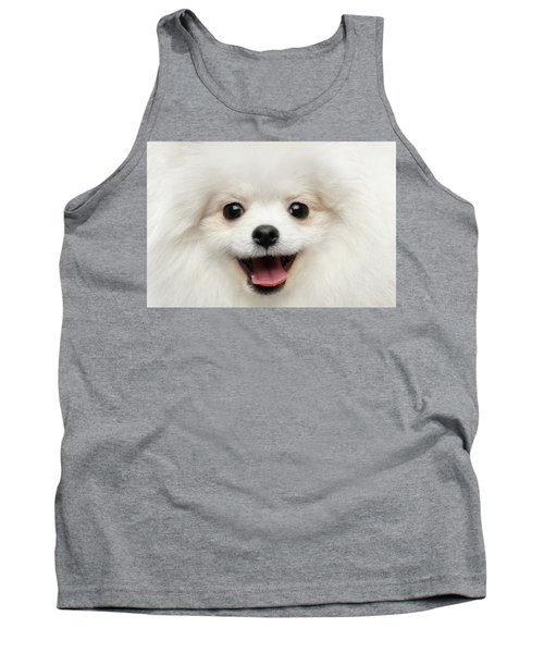 Closeup Furry Happiness White Pomeranian Spitz Dog Curious Smiling Tank Top