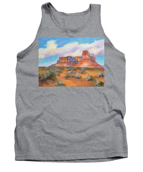Tank Top featuring the painting Clouds Passing Monument Valley by Diane McClary