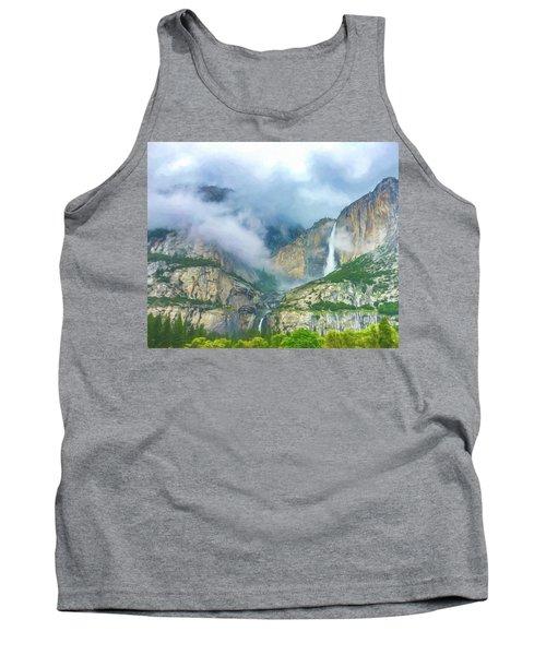 Cloudy Day At Yosemite Falls Digital Watercolor Tank Top
