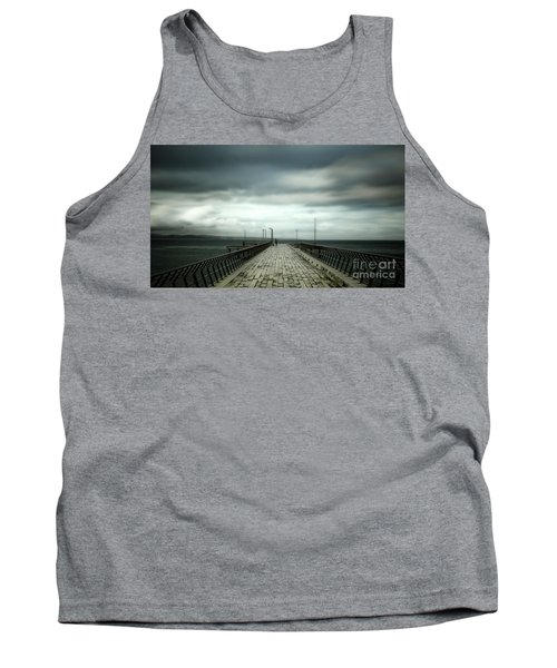 Tank Top featuring the photograph Cloudy Pier by Perry Webster