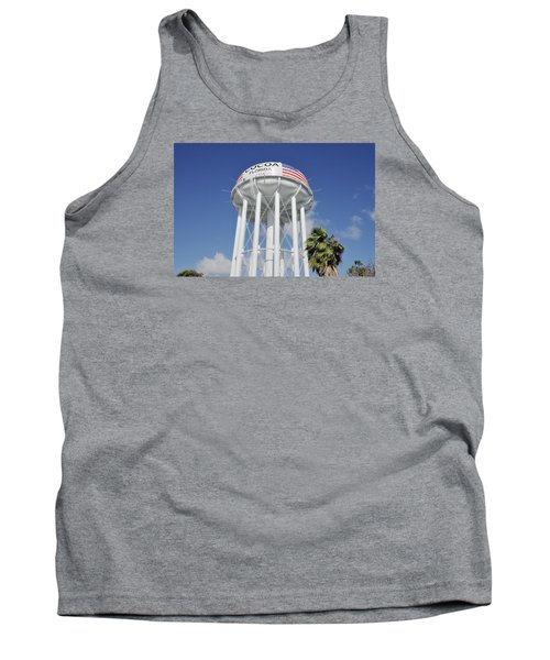 Tank Top featuring the photograph Cocoa Water Tower With American Flag by Bradford Martin