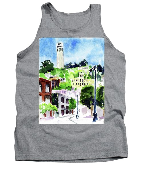 Coit Tower From The Embarcadero Tank Top by Tom Simmons