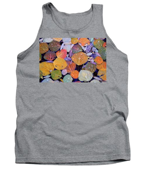 Collage Of Aspen Leaves At Mcgee Creek In The Eastern Sierras Tank Top