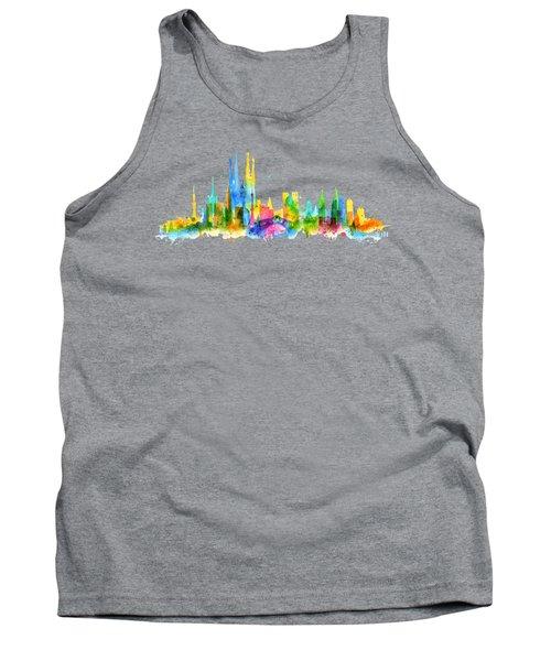 Color Barcelona Skyline 01 Tank Top by Aloke Creative Store