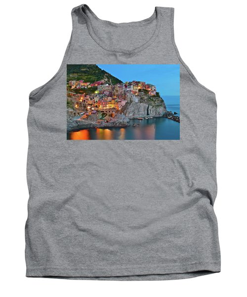 Tank Top featuring the photograph Colorful Buildings Colorful Lights by Frozen in Time Fine Art Photography