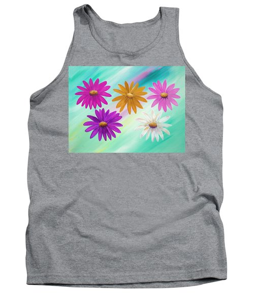 Tank Top featuring the mixed media Colorful Daisies by Elizabeth Lock