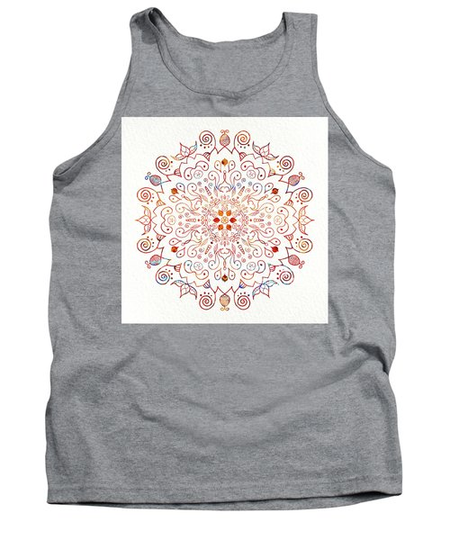 Colorful Mandala On Watercolor Paper Tank Top by Patricia Lintner