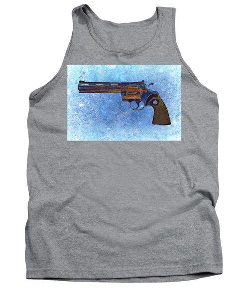 Colt Python 357 Mag On Blue Background. Tank Top