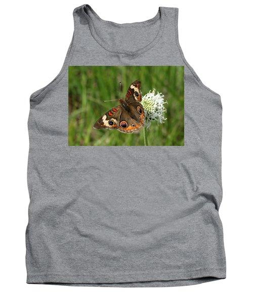 Common Buckeye Butterfly On Wildflower Tank Top by Sheila Brown