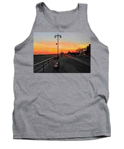 Coney Island Boardwalk Sunset Tank Top