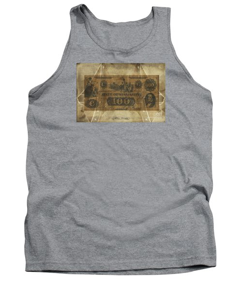 Tank Top featuring the digital art Confederate Mississippi $100 Note by Melissa Messick