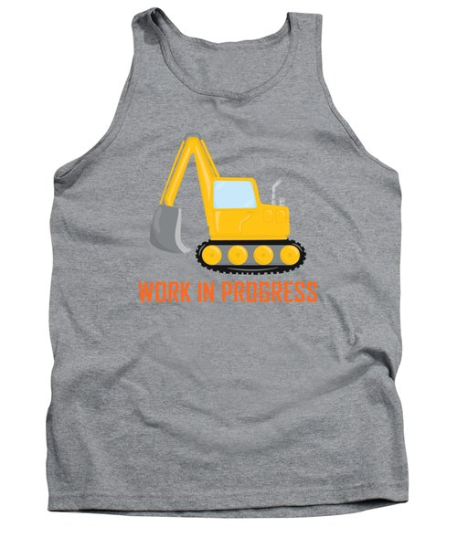 Construction Zone - Excavator Work In Progress Gifts - Grey Background Tank Top