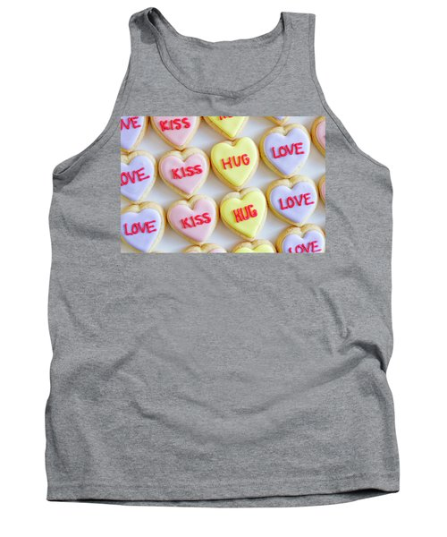Tank Top featuring the photograph Conversation Heart Decorated Cookies by Teri Virbickis