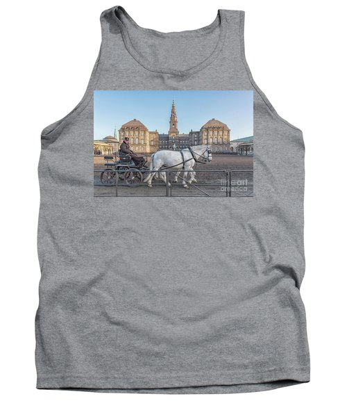 Tank Top featuring the photograph Copenhagen Christianborg Palace Horse And Cart by Antony McAulay
