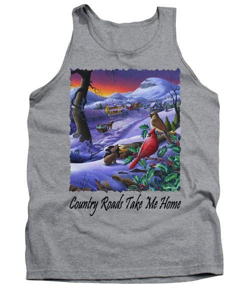Country Roads Take Me Home - Small Town Winter Landscape With Cardinals - Americana Tank Top