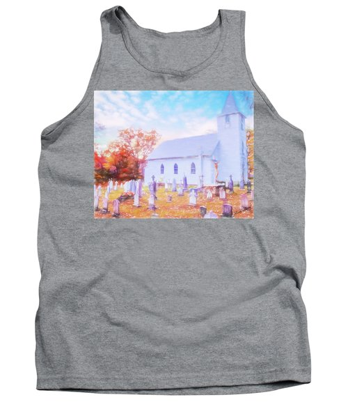Country White Church And Old Cemetery. Tank Top