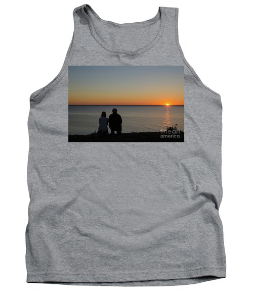 Tank Top featuring the photograph Couple Silhouettes By Sunset by Kennerth and Birgitta Kullman