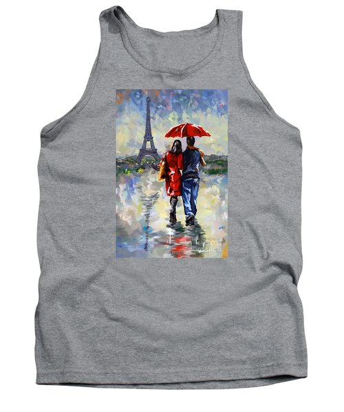 couple walking in the rain Paris Tank Top by Tim Gilliland