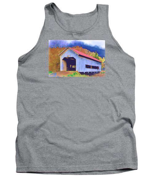 Covered Bridge With Red Roof Tank Top by Kirt Tisdale