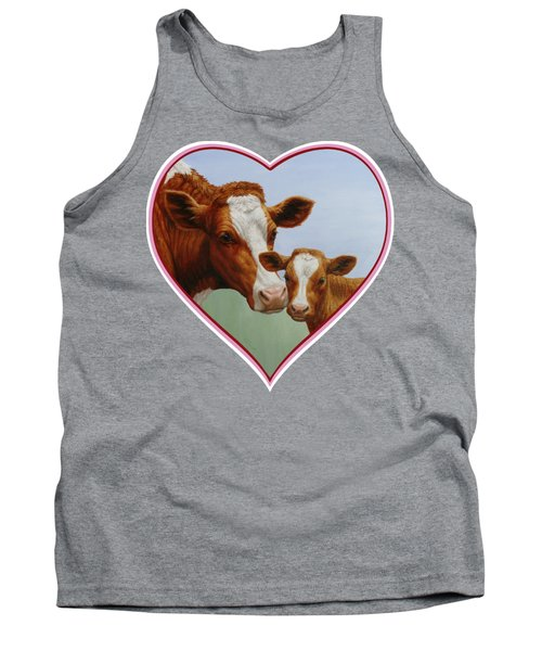 Cow And Calf Pink Heart Tank Top by Crista Forest