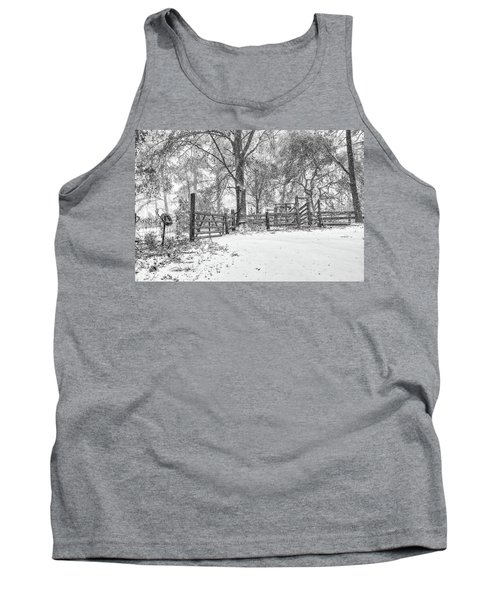 Cow Pen Snow Scene Tank Top