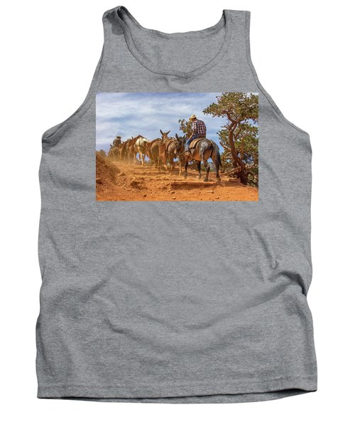 Cowboy And Mule Train On The South Kaibab Trail In The Grand Canyon Tank Top
