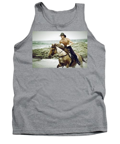 Cowboy Riding Horse On The Beach Tank Top
