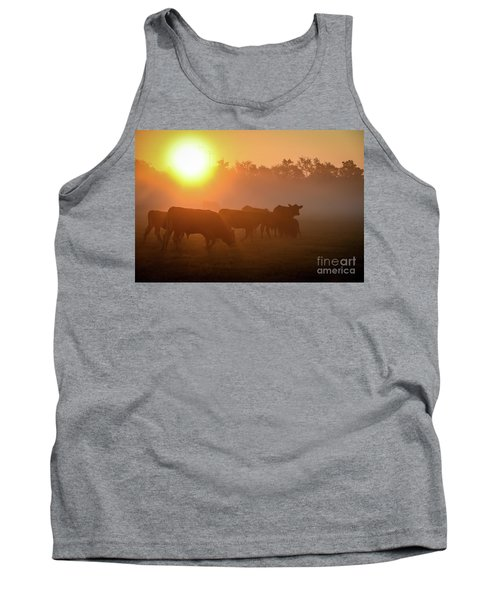 Cows In The Sunrise Mist Tank Top