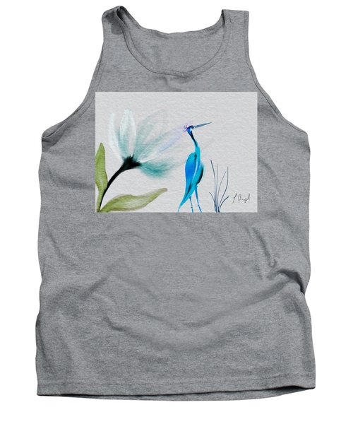 Crane And Flower Abstract Tank Top