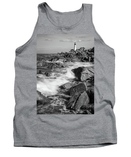 Crashing Waves, Portland Head Light, Cape Elizabeth, Maine  -5605 Tank Top by John Bald