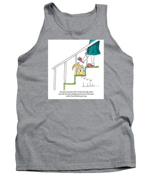 Tank Top featuring the painting Crazy Cat Lady 0006 by Lou Belcher